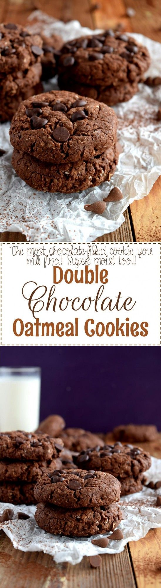 Double Chocolate Oatmeal Cookies - Lord Byron's Kitchen #chocolate #cookies #oatmeal