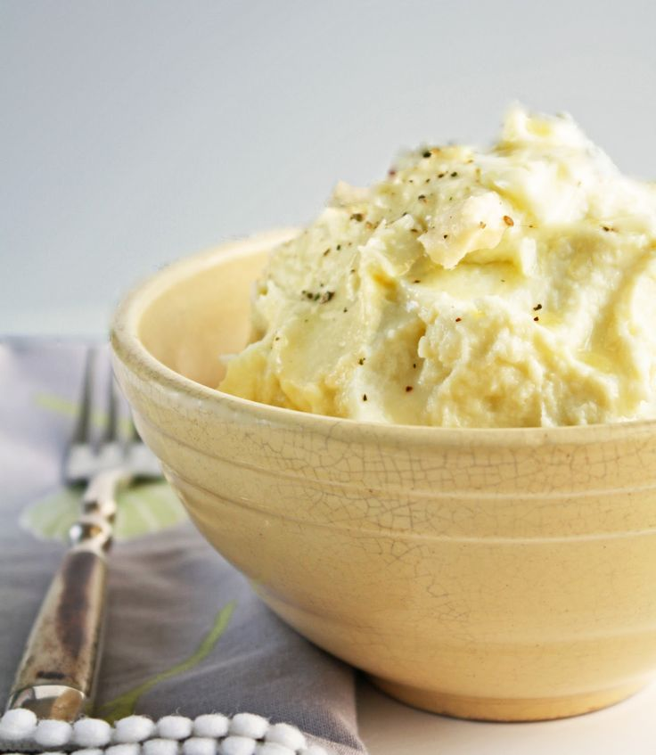 Instead of mashed potatoes as a side, cheesy cauliflower puree
