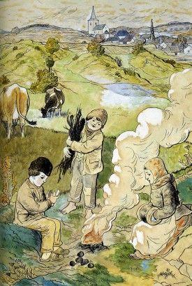 Josef Lada Pečení brambor 1914 kresba, malba akvarel, pastel, tuš