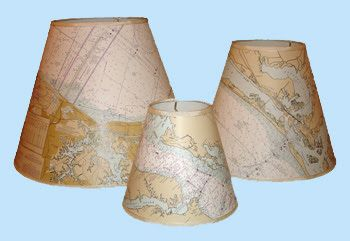Coastal Creations & Design: Nautical Lamp Shades: Chart Your Course with a Navigational Chart Lamp Shade
