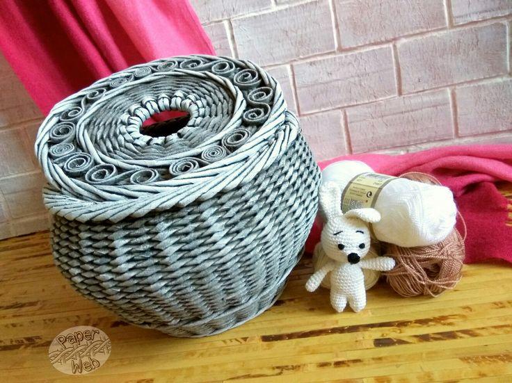 Плетеный горшочек для пряжи с отверстием для нити и спиц. Хороший подарок для вязальщиц. Vk.com/paper_web