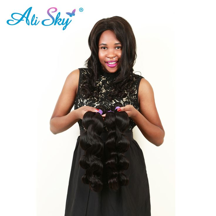"""Ali Sky Brazilian Body Wave Non-Remy Hair Weave 1pc Only 8""""-26"""" 100% Human Hair Extensions Double Strong Weft Natural Black 1B#"""