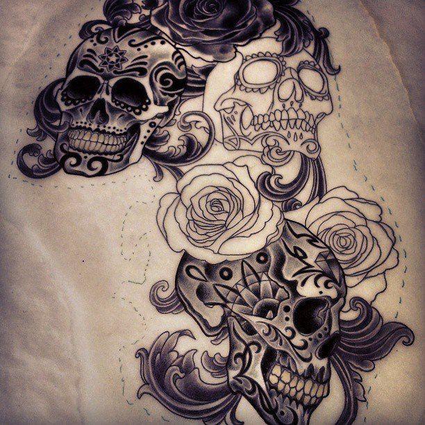 Sugar skulls tattoo design I'm working on, Adam Tattoos, Rose Gold's, San Francisco, California