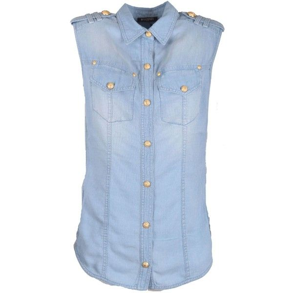 Sleeveless Shirt ($593) ❤ liked on Polyvore featuring tops, denim, womenclothingshirtsshirts, sleeveless denim shirt, sleeveless tops, denim button-down shirts, collared shirt and button shirt