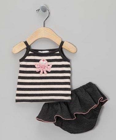 Take a look at this Charcoal & Pink Octopus Tank & Skirted Diaper Cover - Infant by Victoria Kids on #zulily today!
