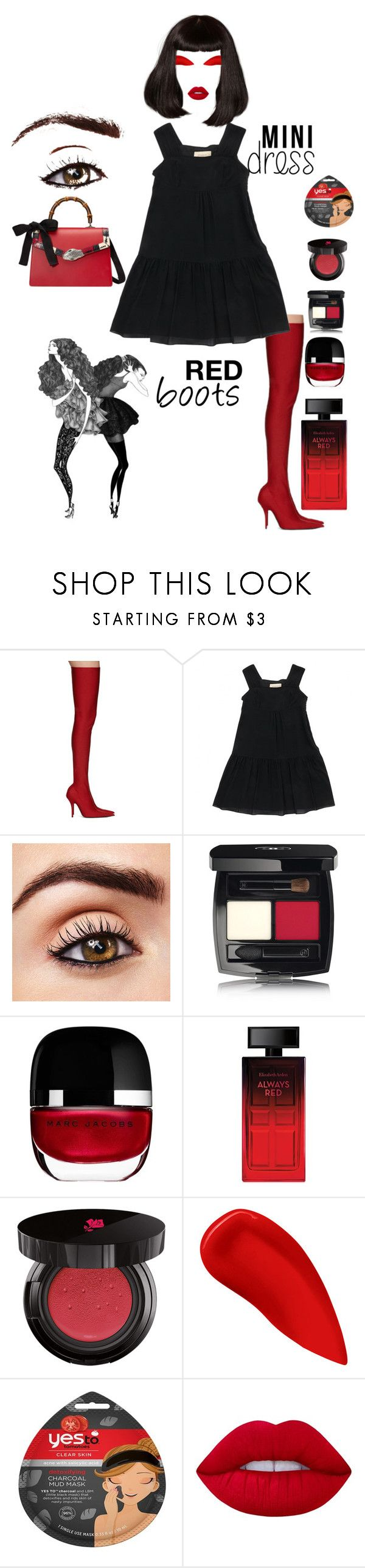 """""""Red Boots"""" by lizzylima ❤ liked on Polyvore featuring Balenciaga, Burberry, Chanel, Marc Jacobs, Elizabeth Arden, Lancôme, Lipstick Queen, Forever 21, Lime Crime and Gucci"""