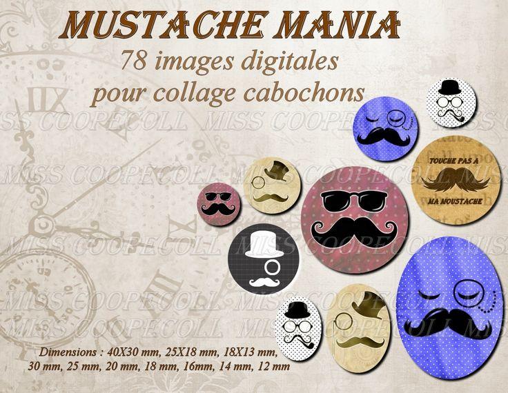 """78 images pour collage digital cabochons bijoux """"Moustache mania"""" : Loisirs créatifs, scrapbooking par miss-coopecoll"""