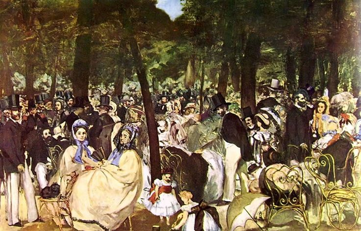 Édouard Manet, MUSICA ALLE TUILERIES, 1862, 76 cm x 1,18 m, Colore ad olio, National Gallery, Londra
