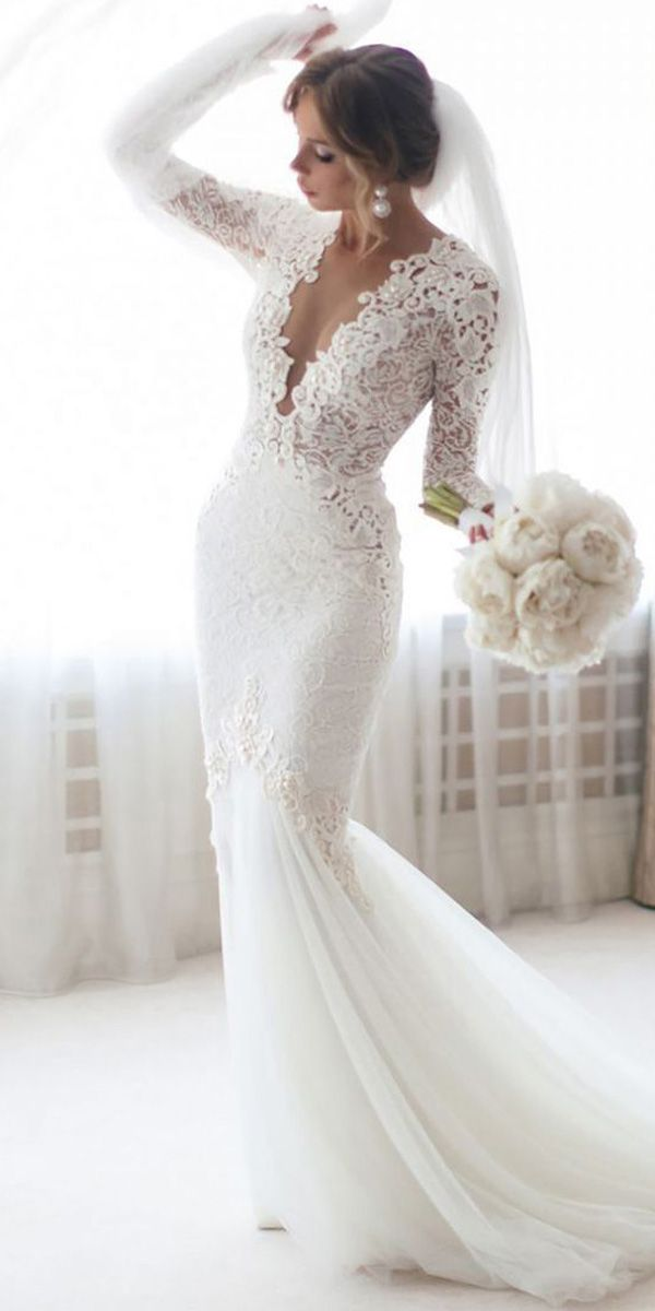 [153.00] Charming Tulle & Lace Jewel Neckline Mermaid Wedding Dresses With Beaded Lace Appliques