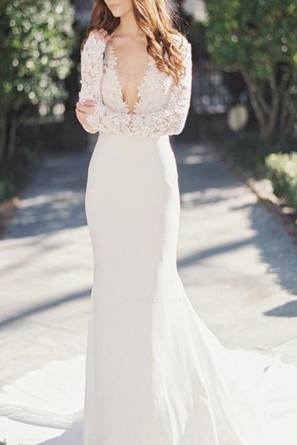 Custom Made Fine Long Sleeves Wedding Dress, Lace Wedding Dress, Mermaid Wedding Dress, V Neck Wedding Dress