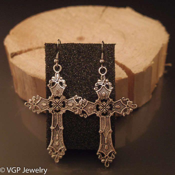 Grote Kruis Oorbellen: zilver