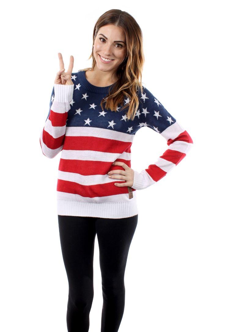 Women's American Flag Sweater   Tipsy Elves