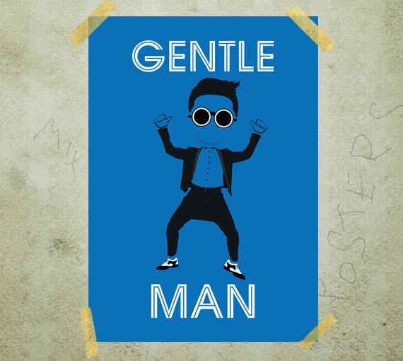 PSY Gentleman music poster print A3 by MixPosters on Etsy,