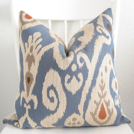 Decorative pillow cover - Throw pillow - Ikat pillow - 20x20 - Blue - Cream - Orange - Taupe ...