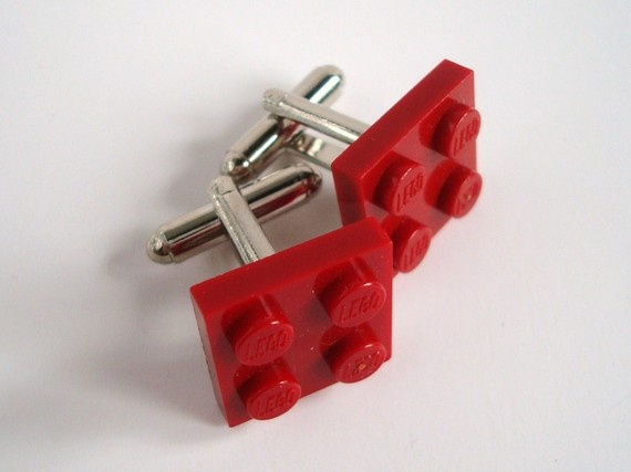 Cufflinks made with Dark Red Lego r parts by MissCourageous,