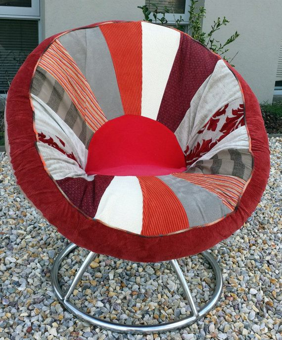 Vintage fully recovered and newly upholstered Danish style swivelling Saucer chair