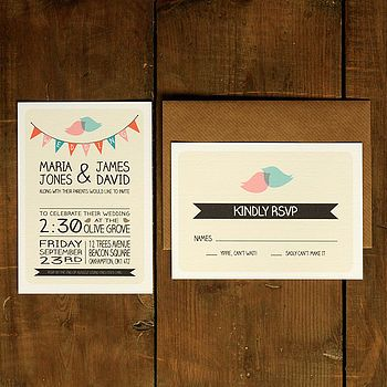Whimsical Lovebirds Invitation & Reply Card
