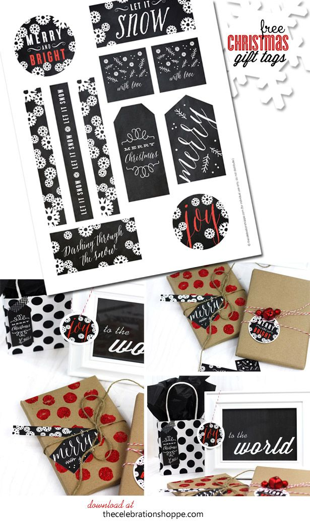 black, white & red chalkboard Christmas gift tags {free download}