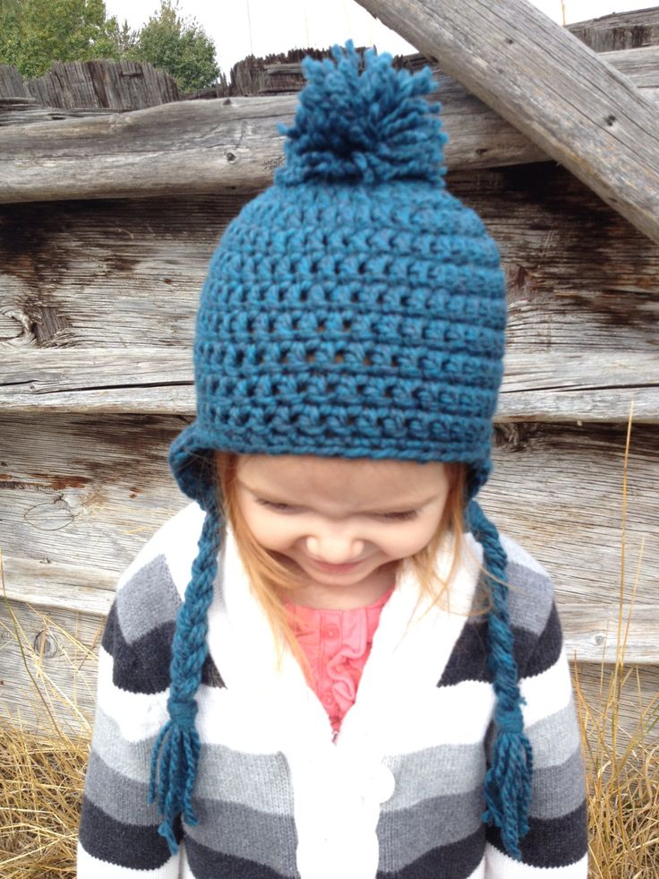 Toddler/Small Child Crochet Pompom Earflap Hat - Unisex- Dark Teal by AngiesKnottyCreation on Etsy