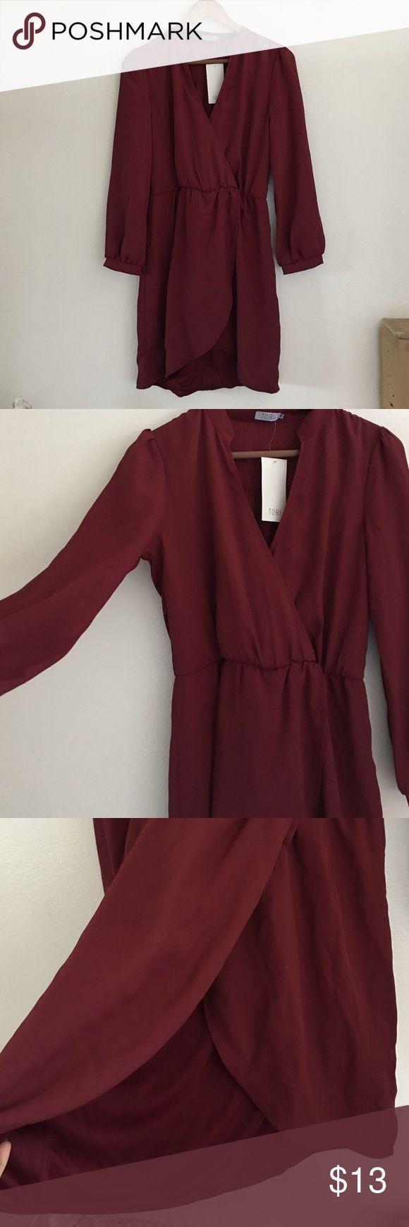 TOBI dress. Maroon long sleeve dress. Stretchy waistband. NEW WITH TAGS! Tobi Dresses Mini