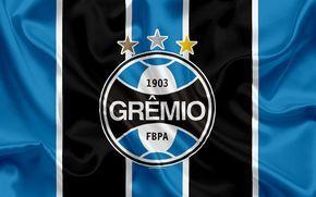Download imagens O grêmio FC, Brasileiro de clubes de futebol, emblema, logo, Brasileiro Serie A, futebol, Porto Alegre, Rio Grande do Sul, Brasil, seda bandeira