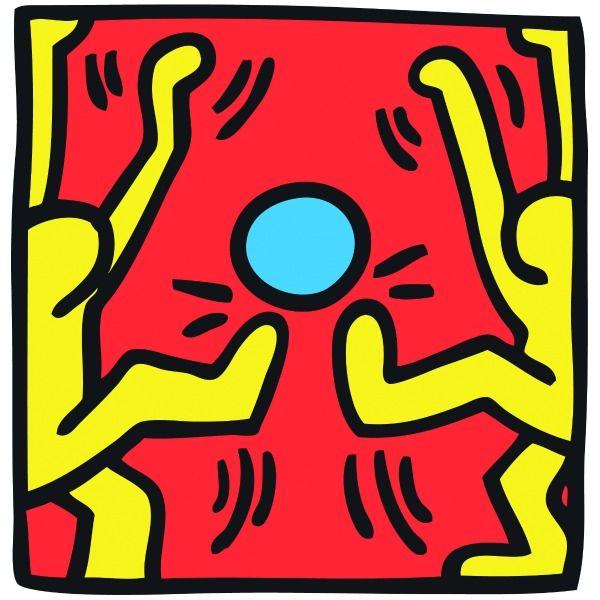 """Keith Haring, Soccer 1988 La représentation """"pop"""" de Haring reste étonnamment moderne et pourrait encore faire office d'identité visuelle pour ce Mondial brésilien : le football comme une fête, deux adversaires avec le même maillot (et la même passion) qui semblent danser alors qu'il se disputent un ballon. Le foot sans violence, sans nationalisme exacerbé, le foot des bisounours comme nous le vend la FIFA (avec Coca Cola)."""