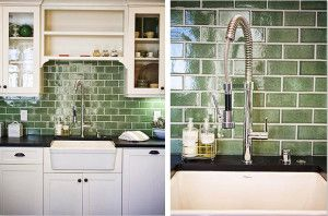 Green fireclay subway tiles frame a vintage farmhouse sink, from prettylittlegreenthings.com