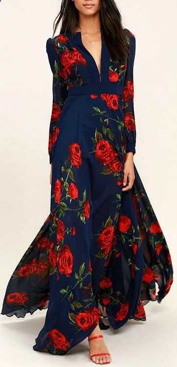 Blossom Navy Blue and Russian Red floral print maxi dress, masterfully tailored, flowing, elegant dress. $136, a wardrobe builder. We love it. Follow RUSHWORLD! Were on the hunt for everything youll love!
