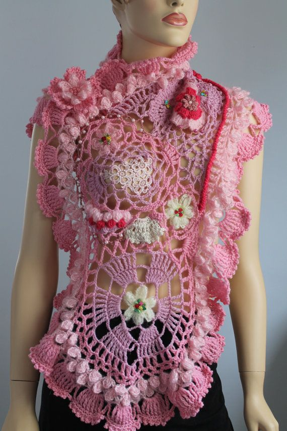 Freeform  Crochet Wrap  Wedding Shrug  Wearable Art by levintovich, $145.00