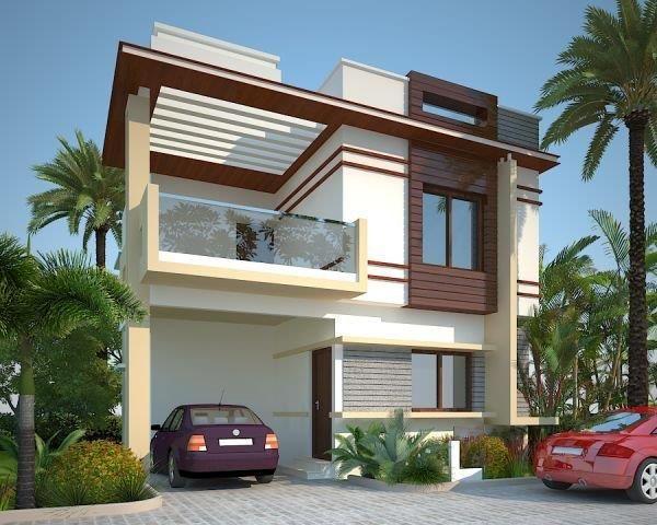 Duplex House Design Plans Elevation Front Flat Roof Modern