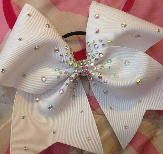 White Cheer Bow with rhinestones by KathyBows on Etsy