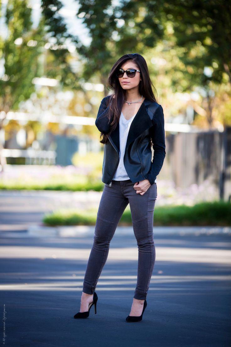 Biker chic outfit moto jacket - Stylishlyme