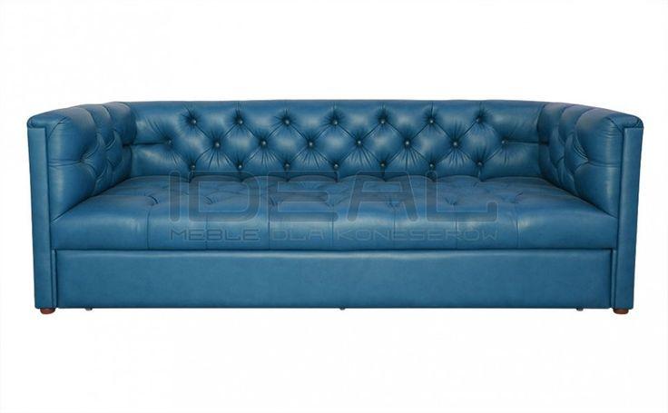 Sofy Stylowe - Sofa Chesterfield London Z Pojemnikiem W Skórze - Ideal Meble (niebieska, blue)
