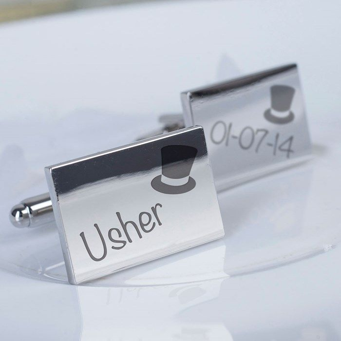 Personalised with the date of your wedding | Engraved Rectangle Cufflinks - Wedding Usher Top Hat | GettingPersonal.co.uk