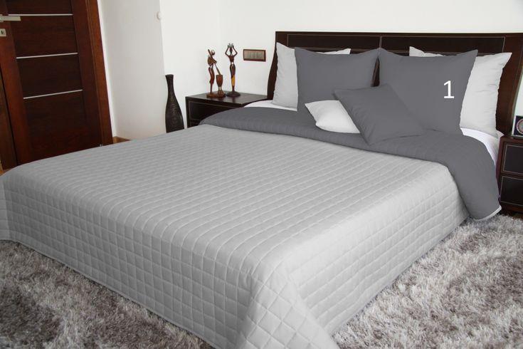 Oboustranné přehozy na manželskou postel v šedé barvě
