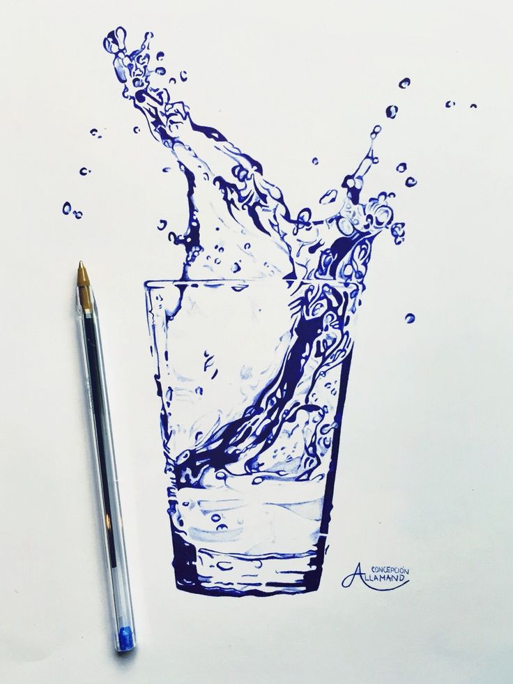 Bic pencil drawing, glass of water Concepción Allamand #glass #water #art #drawing #bic #pen #concepción #allamand