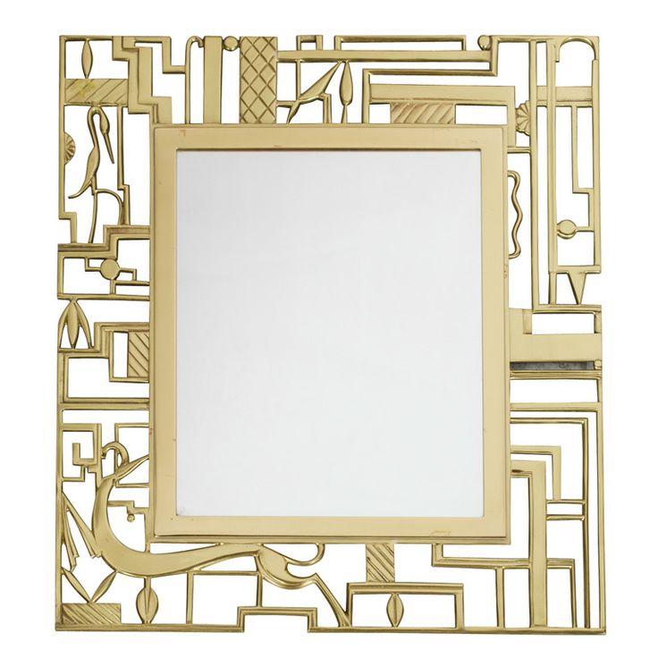 wall mirror in cast brass, signed - karl hagenauer for the wekstatte - vienna austria - c1924 - height: 16.5 in. (42 cm)  width/length: 14.8 in. (38 cm) - almond hartzog, ref. : 1210159086574 - 19500 usd