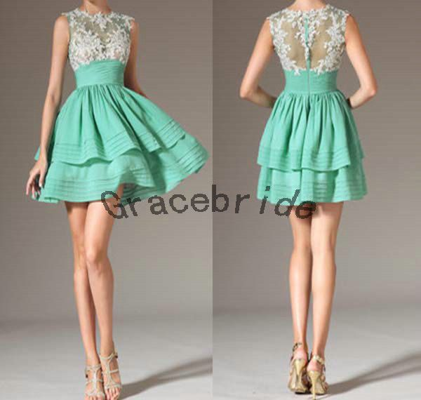 2014 latest mint taffeta prom dresses with ivory by Gracebride, $128.00
