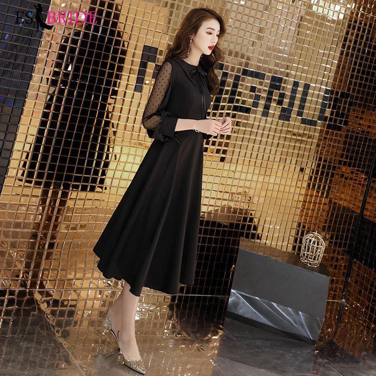 Black Formal Birthday Evening Dresses Long Evening Gowns for Women Elegant O-nec…