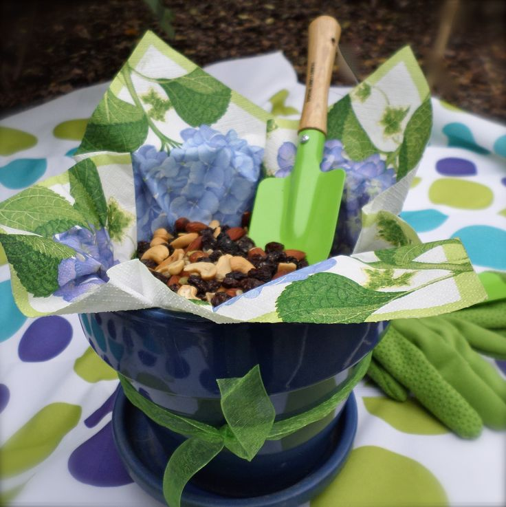 Use your creativity to serve your pool party food.  For a garden party use a new flower pot lined with a floral napkin along with a mini-garden shovel for serving snacks.