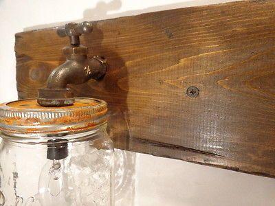 Mason Jar Vanity Light Fixture, Country Primitive,Rustic Wood, Vintage Style