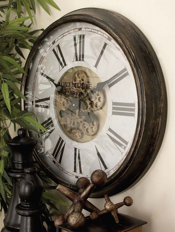 Vintage Reflections 24 Round Iron Wall Clock In Distressed Mahogany By Uma Gear Wall Clock Rustic Wall Clocks Vintage Wall Clock