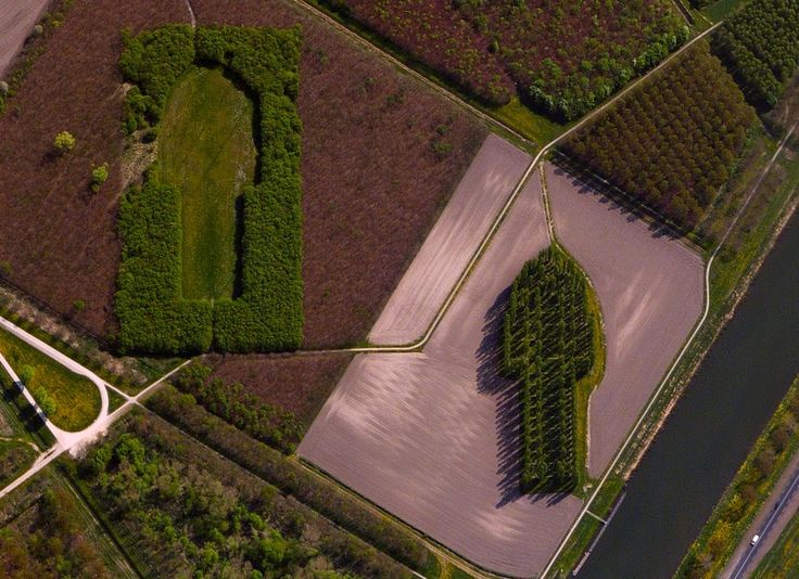 """12/27/2014 Green Cathedral Almere, Netherlands 52.323157°N 5.318778°E The Green Cathedral or De Groene Kathedraal located near Almere, Netherlands, is an artistic planting of 178 Lombardy poplar trees. The """"Cathedral"""" is 50 m (490 ft) long and 75 m (246 ft) wide, which mimics the exact size and shape of the Cathedral of Notre-Dame, in Reims, France. The artist, Marinus Boezem, also made a clearing in a nearby beech forest of the same shape to suggest that as the poplars decline, beech ..."""