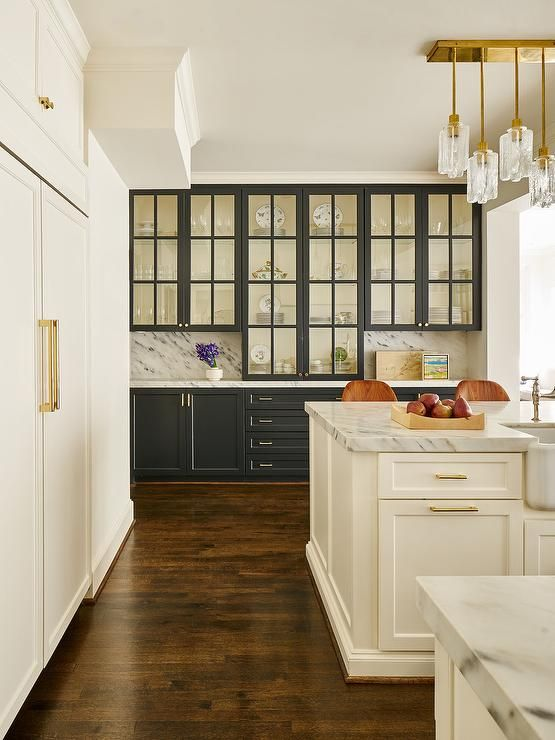 Black Built In China Cabinet with Brass Hardware ...