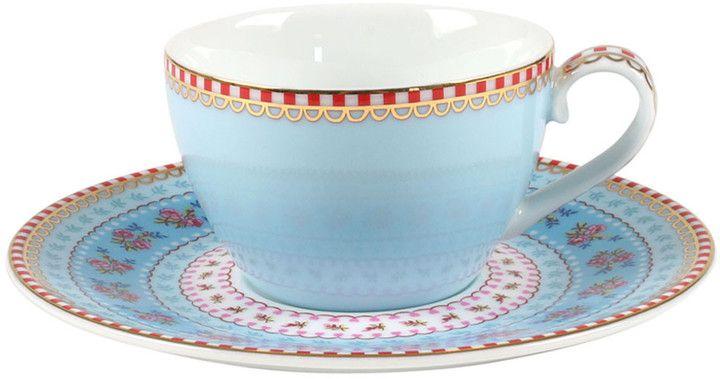 Pip Studio - Ribbon Rose Espresso Cup & Saucer - Blue