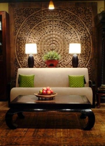 Painted or tapestry on the wall.  Thai Inspired Modern Design - asian - living room - chicago - The Golden Triangle