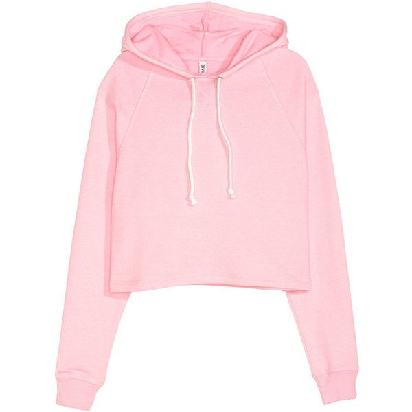 Short Hooded Sweatshirt $17.99 ($18) ❤ liked on Polyvore featuring tops, hoodies, sweatshirts, h&m, pink top, crop top and pink crop top
