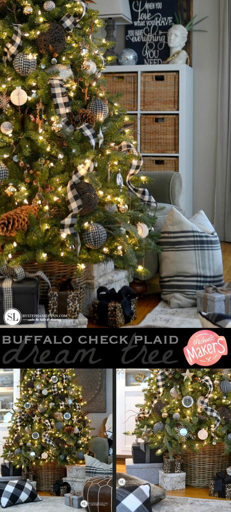 Black And White Plaid Buffalo Check Christmas Tree