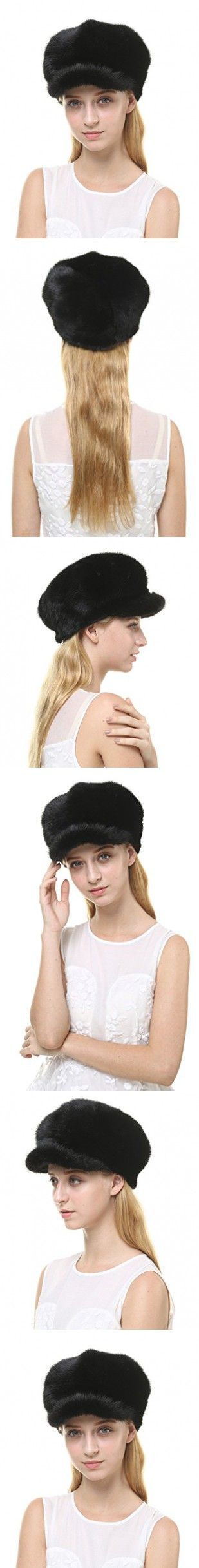 Vogueearth Women'Real Mink Fur Winter Warmer Flexible Berets Hat Black