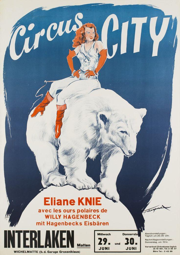 Knie, Circus City, Eliane Knie avec les ours polaires de Willy Hagenbeck. Eugène FAUQUEX (1950 circa)